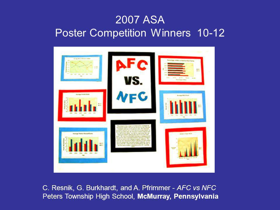 2007 ASA Poster Competition Winners 10-12 C. Resnik, G.