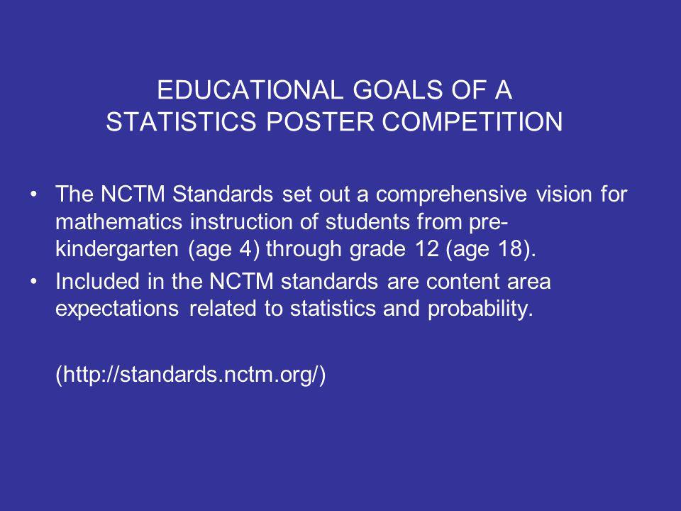 EDUCATIONAL GOALS OF A STATISTICS POSTER COMPETITION The NCTM Standards set out a comprehensive vision for mathematics instruction of students from pre- kindergarten (age 4) through grade 12 (age 18).