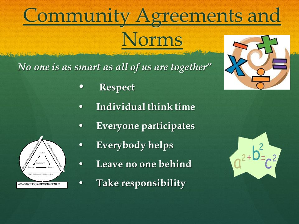 Community Agreements and Norms No one is as smart as all of us are together Respect Respect Individual think time Individual think time Everyone participates Everyone participates Everybody helps Everybody helps Leave no one behind Leave no one behind Take responsibility Take responsibility