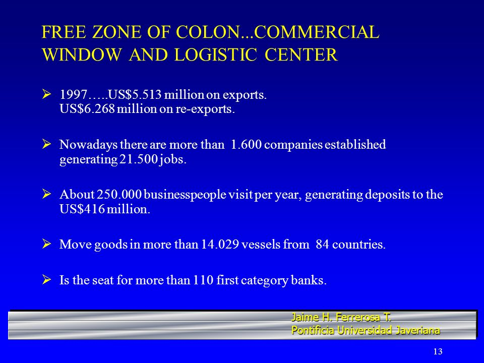 13 FREE ZONE OF COLON...COMMERCIAL WINDOW AND LOGISTIC CENTER 1997…..US$5.513 million on exports.