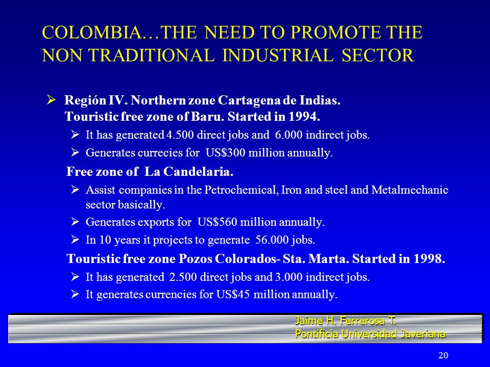 20 COLOMBIA…THE NEED TO PROMOTE THE NON TRADITIONAL INDUSTRIAL SECTOR Región IV.
