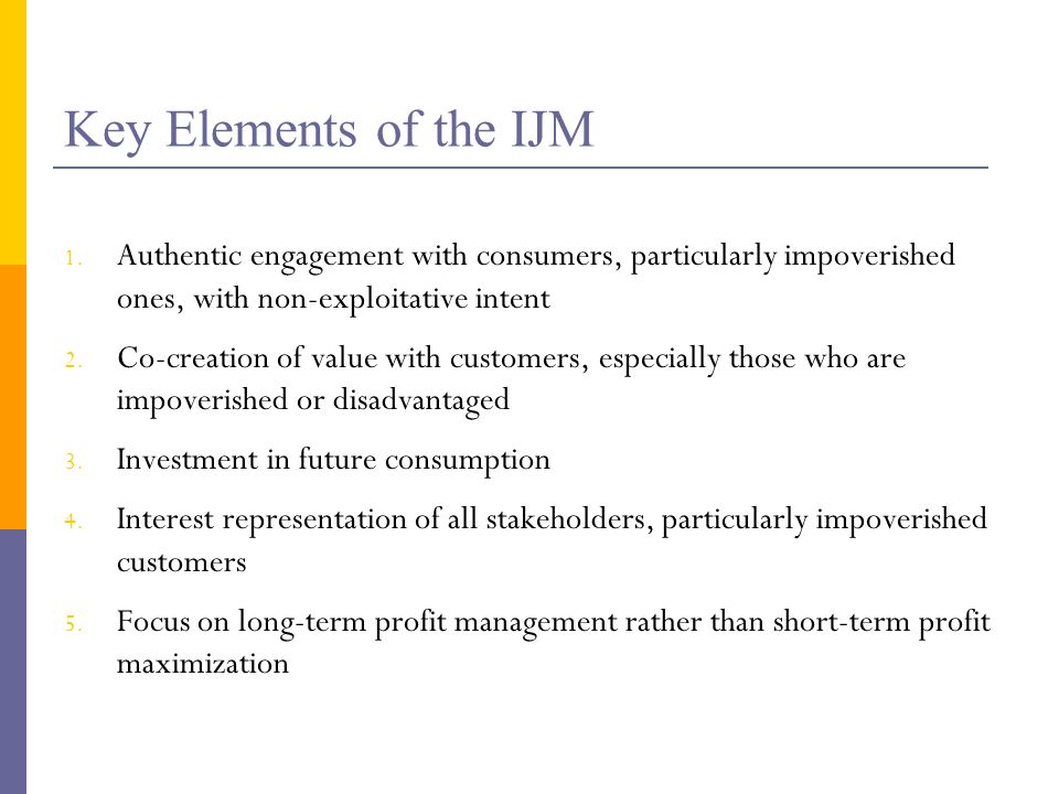 Key Elements of the IJM 1.