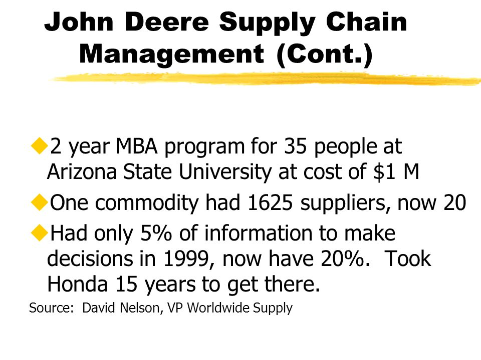 John Deere Supply Chain Management (Cont.) u2 year MBA program for 35 people at Arizona State University at cost of $1 M uOne commodity had 1625 suppliers, now 20 uHad only 5% of information to make decisions in 1999, now have 20%.