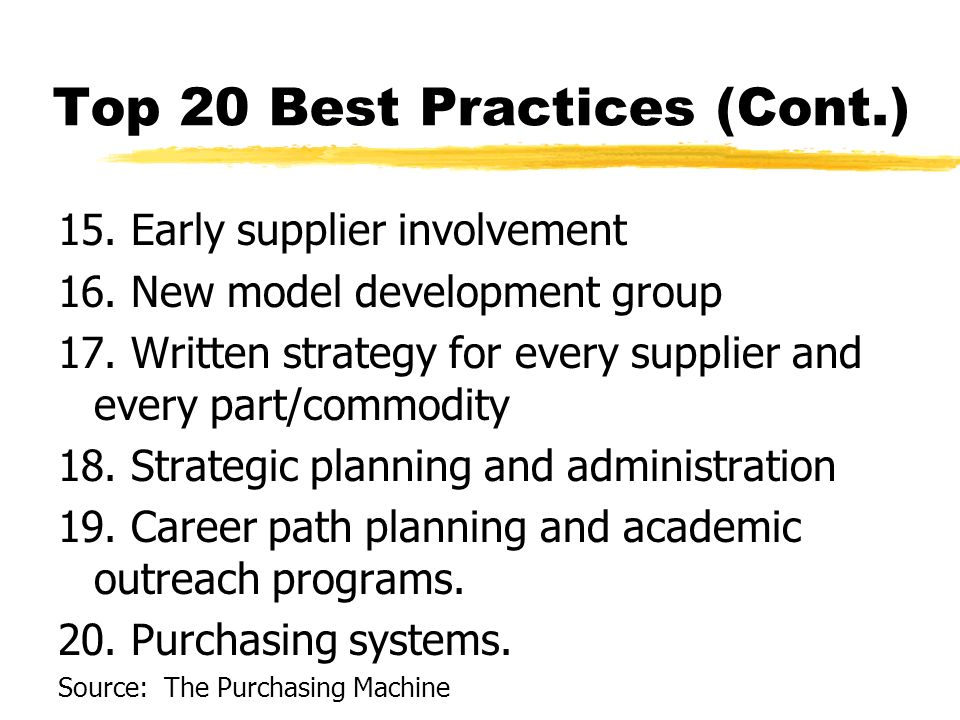 Top 20 Best Practices (Cont.) 15. Early supplier involvement 16.