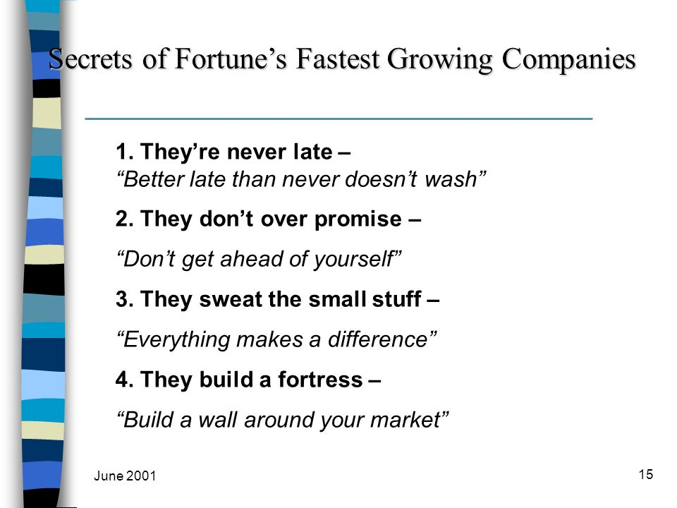 June 2001 15 Secrets of Fortunes Fastest Growing Companies 1.