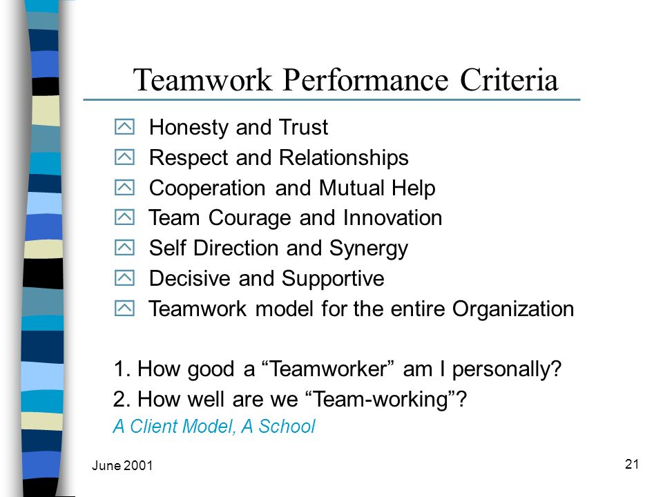 June 2001 21 Teamwork Performance Criteria y Honesty and Trust y Respect and Relationships y Cooperation and Mutual Help y Team Courage and Innovation y Self Direction and Synergy y Decisive and Supportive y Teamwork model for the entire Organization 1.