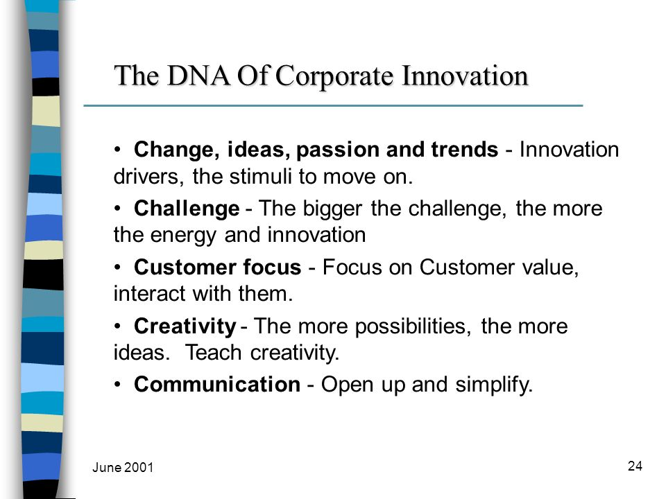 June 2001 24 Change, ideas, passion and trends - Innovation drivers, the stimuli to move on.