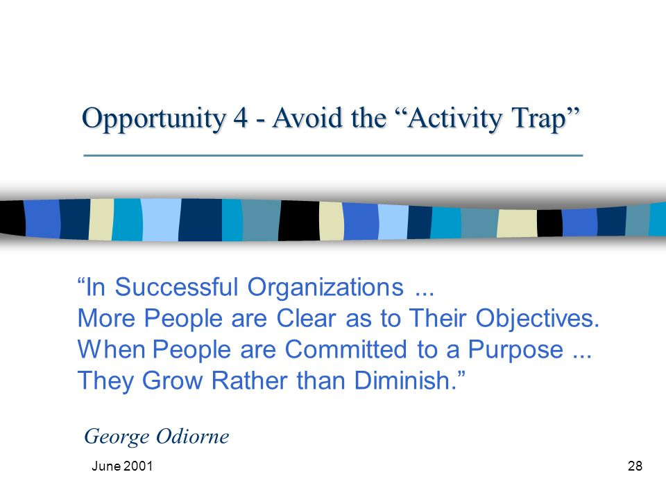 June 200128 In Successful Organizations... More People are Clear as to Their Objectives.