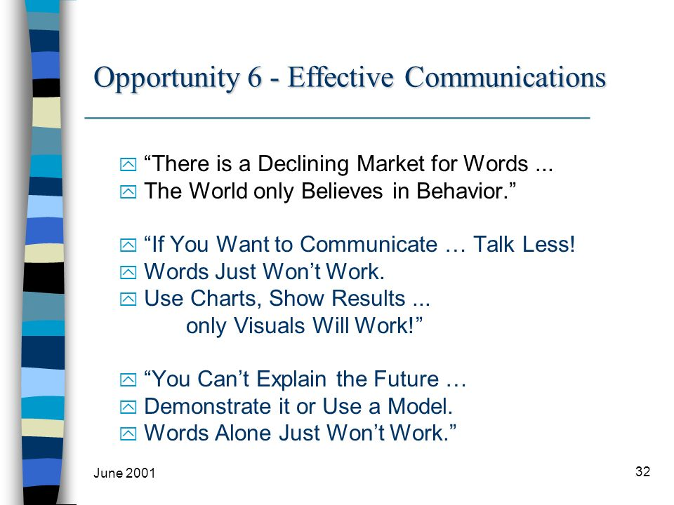 June 2001 32 Opportunity 6 - Effective Communications y There is a Declining Market for Words...