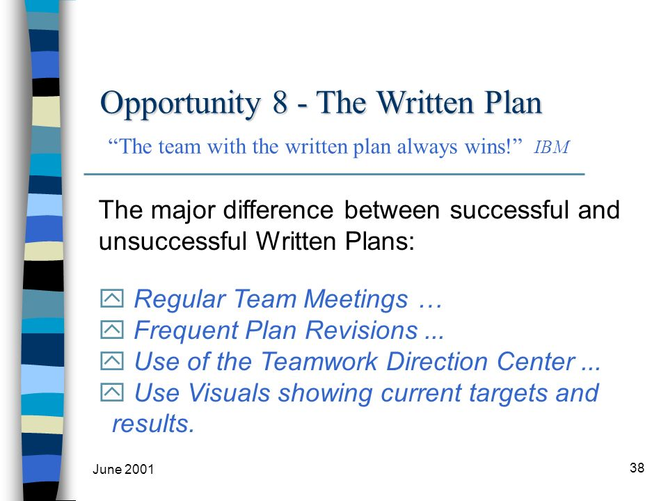 June 2001 38 The major difference between successful and unsuccessful Written Plans: y Regular Team Meetings … y Frequent Plan Revisions...