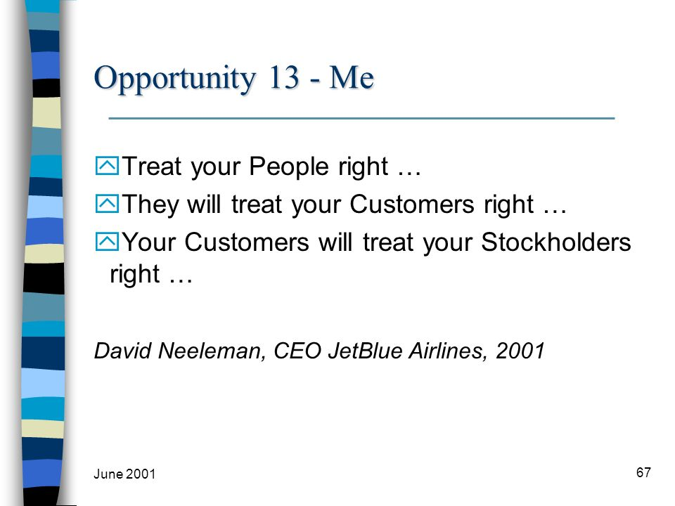June 2001 67 Opportunity 13 - Me yTreat your People right … yThey will treat your Customers right … yYour Customers will treat your Stockholders right … David Neeleman, CEO JetBlue Airlines, 2001