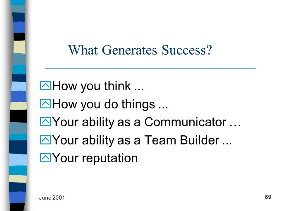 June 2001 69 What Generates Success. yHow you think...