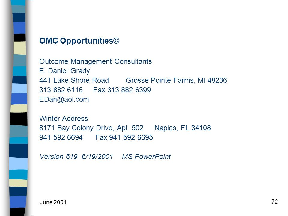 June 2001 72 OMC Opportunities© Outcome Management Consultants E.
