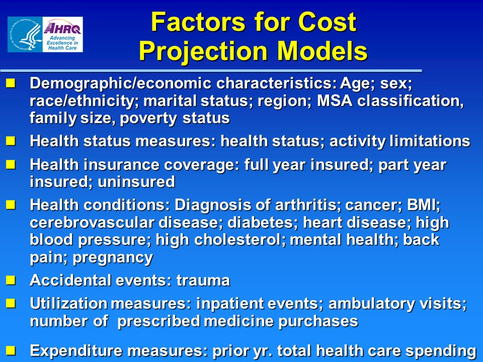 Factors for Cost Projection Models Demographic/economic characteristics: Age; sex; race/ethnicity; marital status; region; MSA classification, family size, poverty status Demographic/economic characteristics: Age; sex; race/ethnicity; marital status; region; MSA classification, family size, poverty status Health status measures: health status; activity limitations Health status measures: health status; activity limitations Health insurance coverage: full year insured; part year insured; uninsured Health insurance coverage: full year insured; part year insured; uninsured Health conditions: Diagnosis of arthritis; cancer; BMI; cerebrovascular disease; diabetes; heart disease; high blood pressure; high cholesterol; mental health; back pain; pregnancy Health conditions: Diagnosis of arthritis; cancer; BMI; cerebrovascular disease; diabetes; heart disease; high blood pressure; high cholesterol; mental health; back pain; pregnancy Accidental events: trauma Accidental events: trauma Utilization measures: inpatient events; ambulatory visits; number of prescribed medicine purchases Utilization measures: inpatient events; ambulatory visits; number of prescribed medicine purchases Expenditure measures: prior yr.