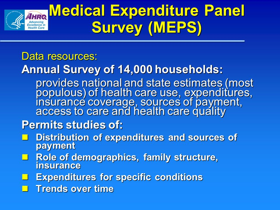 Medical Expenditure Panel Survey (MEPS) Data resources: Annual Survey of 14,000 households: provides national and state estimates (most populous) of health care use, expenditures, insurance coverage, sources of payment, access to care and health care quality Permits studies of: Distribution of expenditures and sources of payment Distribution of expenditures and sources of payment Role of demographics, family structure, insurance Role of demographics, family structure, insurance Expenditures for specific conditions Expenditures for specific conditions Trends over time Trends over time