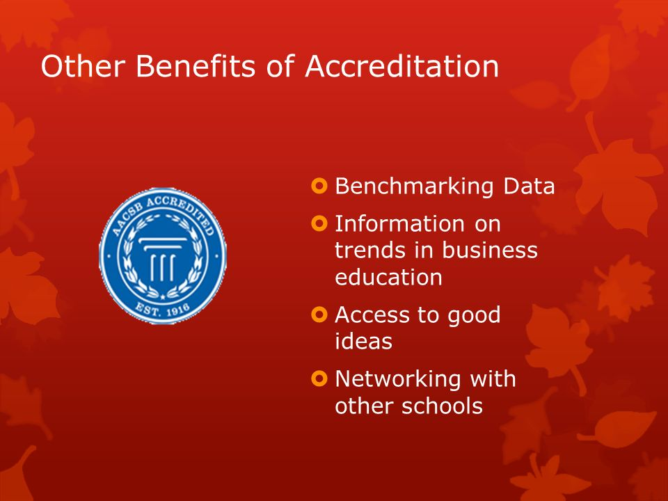 Other Benefits of Accreditation Benchmarking Data Information on trends in business education Access to good ideas Networking with other schools