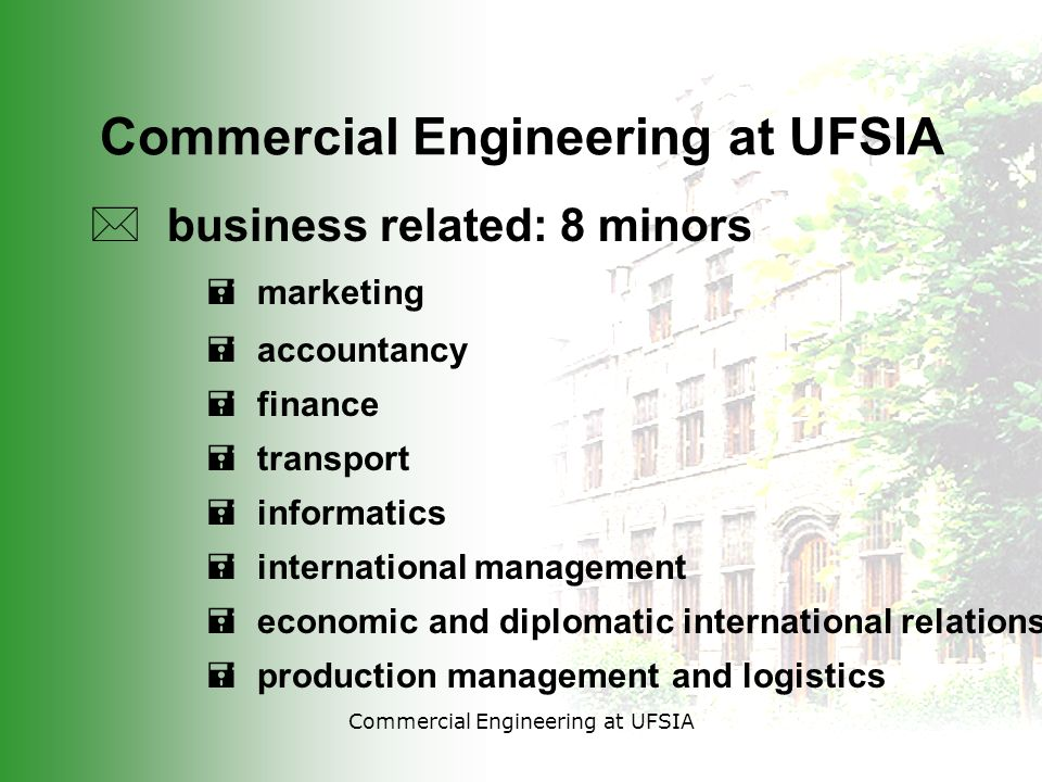 Commercial Engineering at UFSIA * business related: 8 minors = marketing = accountancy = finance = transport = informatics = international management = economic and diplomatic international relations = production management and logistics