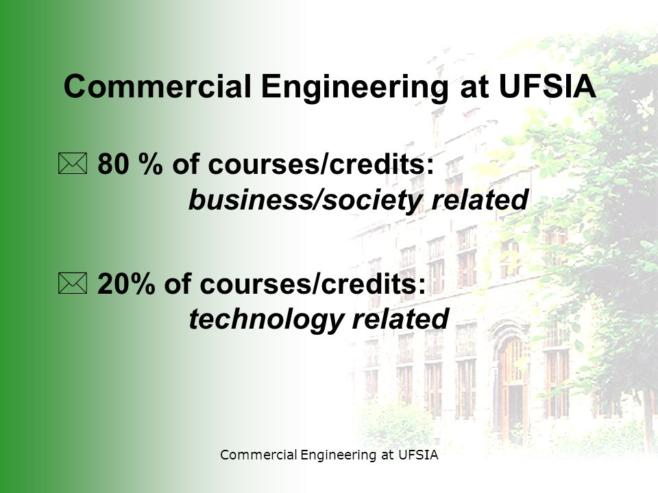 Commercial Engineering at UFSIA * 80 % of courses/credits: business/society related * 20% of courses/credits: technology related