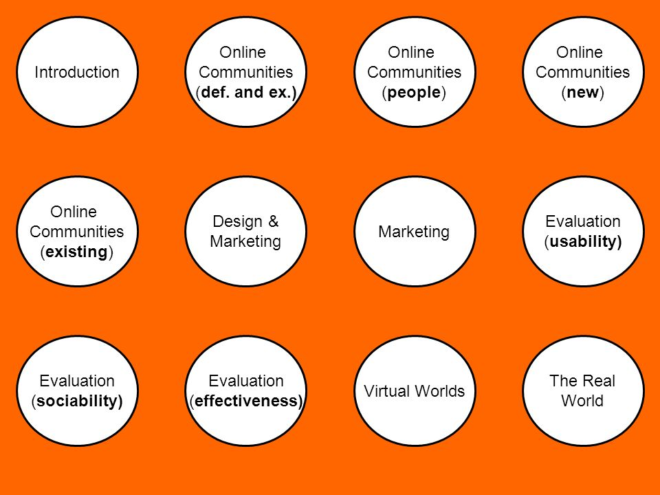 Introduction Design & Marketing Evaluation (effectiveness) Virtual Worlds Online Communities (def.