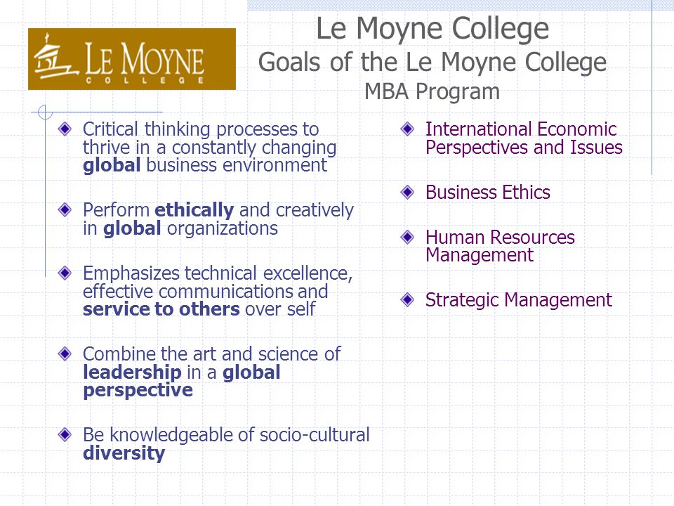 Le Moyne College Goals of the Le Moyne College MBA Program Critical thinking processes to thrive in a constantly changing global business environment Perform ethically and creatively in global organizations Emphasizes technical excellence, effective communications and service to others over self Combine the art and science of leadership in a global perspective Be knowledgeable of socio-cultural diversity International Economic Perspectives and Issues Business Ethics Human Resources Management Strategic Management