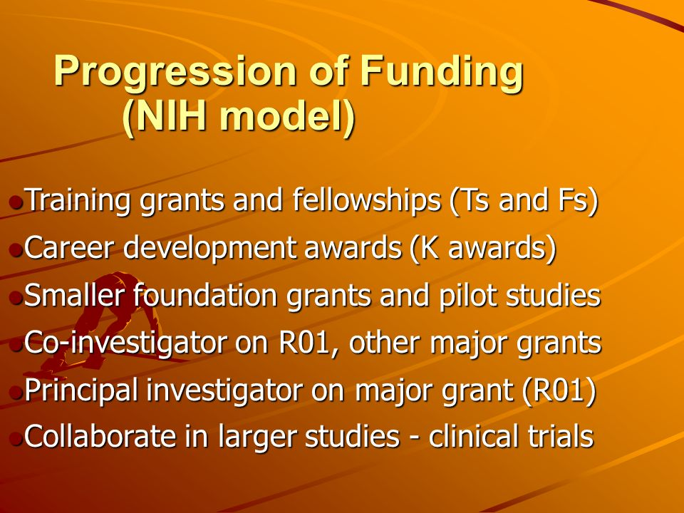 Training grants and fellowships (Ts and Fs) Training grants and fellowships (Ts and Fs) Career development awards (K awards) Career development awards (K awards) Smaller foundation grants and pilot studies Smaller foundation grants and pilot studies Co-investigator on R01, other major grants Co-investigator on R01, other major grants Principal investigator on major grant (R01) Principal investigator on major grant (R01) Collaborate in larger studies - clinical trials Collaborate in larger studies - clinical trials Progression of Funding (NIH model)