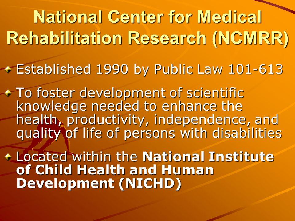Other NIH Institutes supporting Medical Rehabilitation research NINDS, e.g., spinal cord & brain injury, cerebral palsy Daofen Chendaofen.chen@nih.hhs.gov NIAMS, e.g., arthritis, muscle physiology, bone & skin James Panagisjp149d@nih.gov NIA, e.g., geriatric populations Rosemary YancikYancikr@nia.nih.gov NIDCD, e.g., speech, language, balance Daniel Sklareds104i@nih.gov NCI, e.g., cancer Ann OMaraao45s@nih.gov