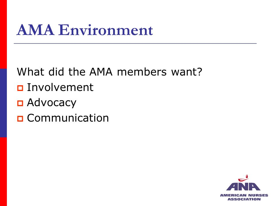 AMA Environment What did the AMA members want Involvement Advocacy Communication