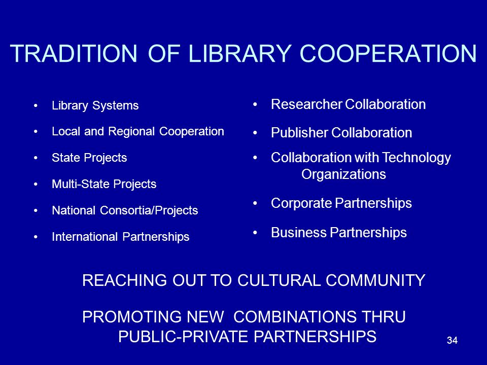 34 TRADITION OF LIBRARY COOPERATION Library Systems Local and Regional Cooperation State Projects Multi-State Projects National Consortia/Projects International Partnerships Researcher Collaboration Publisher Collaboration Collaboration with Technology Organizations Corporate Partnerships Business Partnerships REACHING OUT TO CULTURAL COMMUNITY PROMOTING NEW COMBINATIONS THRU PUBLIC-PRIVATE PARTNERSHIPS