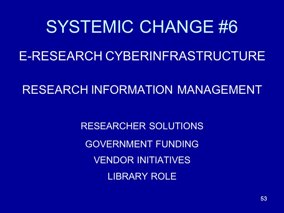 53 SYSTEMIC CHANGE #6 E-RESEARCH CYBERINFRASTRUCTURE RESEARCH INFORMATION MANAGEMENT RESEARCHER SOLUTIONS GOVERNMENT FUNDING VENDOR INITIATIVES LIBRARY ROLE