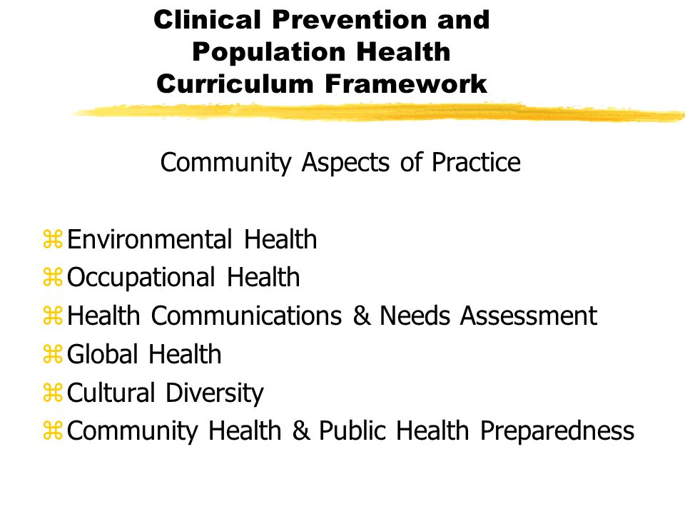 Community Aspects of Practice zEnvironmental Health zOccupational Health zHealth Communications & Needs Assessment zGlobal Health zCultural Diversity zCommunity Health & Public Health Preparedness