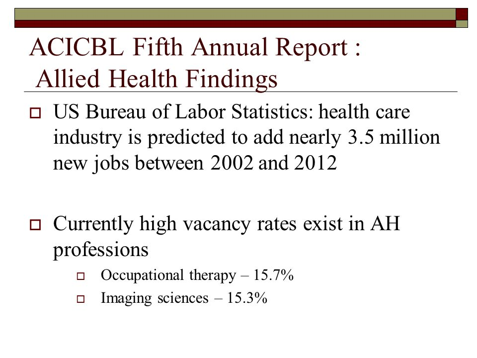 ACICBL Fifth Annual Report : Allied Health Findings US Bureau of Labor Statistics: health care industry is predicted to add nearly 3.5 million new job