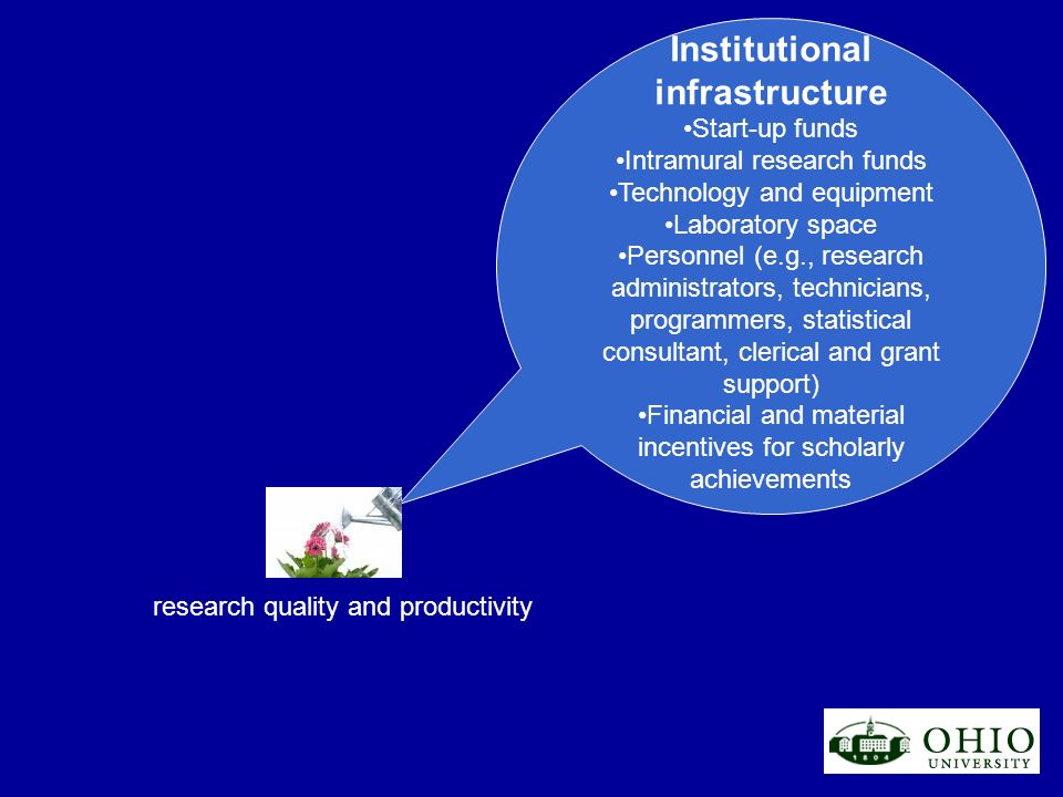 research quality and productivity Institutional infrastructure Start-up funds Intramural research funds Technology and equipment Laboratory space Pers