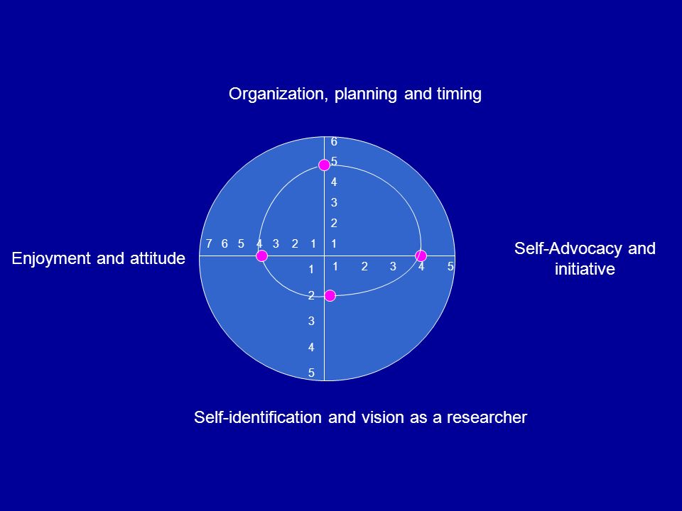 Organization, planning and timing Enjoyment and attitude Self-Advocacy and initiative Self-identification and vision as a researcher 654321654321 1 2 3 4 5 1234512345 7 6 5 4 3 2 1