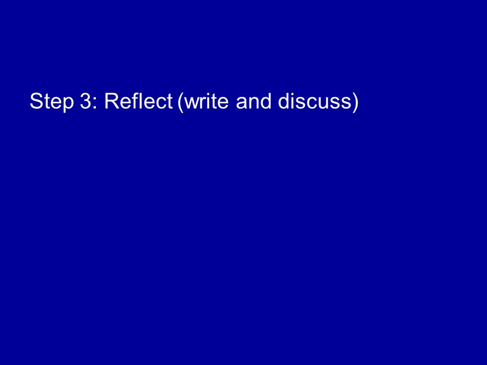 Step 3: Reflect (write and discuss)