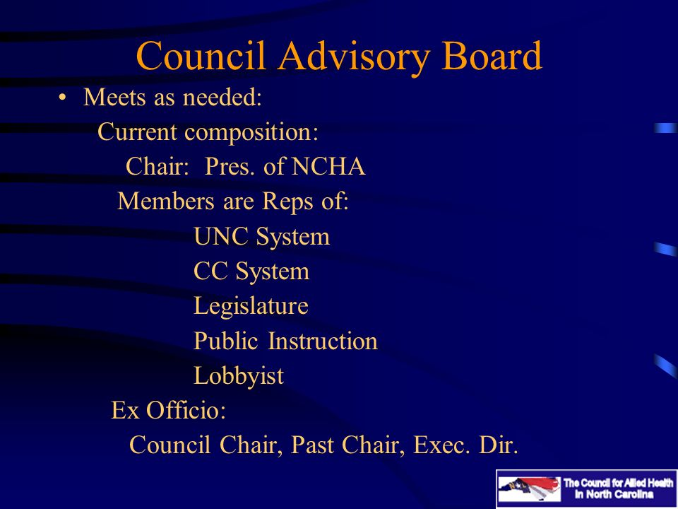 Council Advisory Board Meets as needed: Current composition: Chair: Pres.