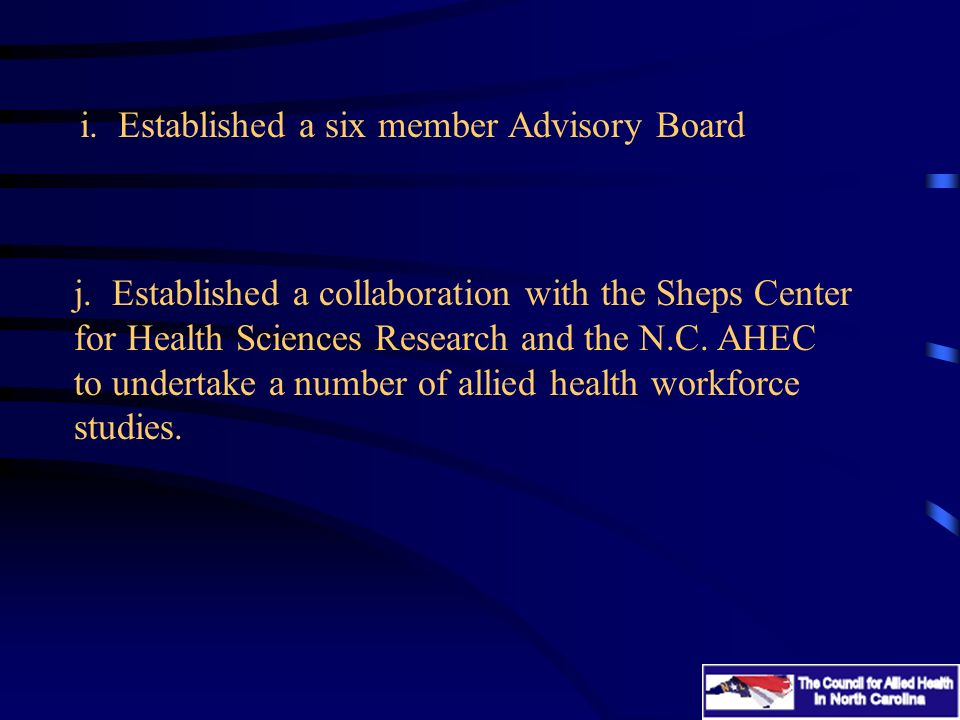 j.Established a collaboration with the Sheps Center for Health Sciences Research and the N.C.