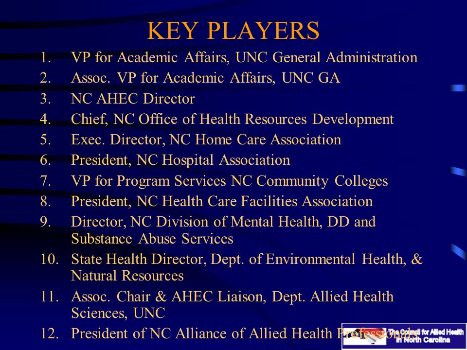 KEY PLAYERS 1.VP for Academic Affairs, UNC General Administration 2.Assoc.