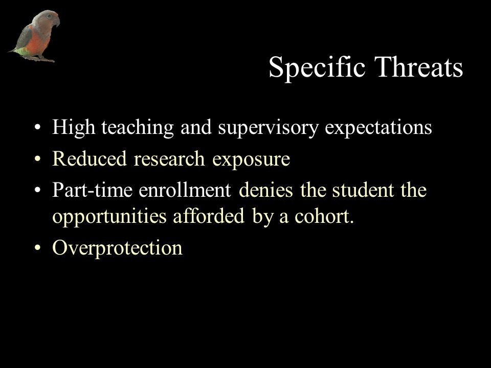 Specific Threats High teaching and supervisory expectations Reduced research exposure Part-time enrollment denies the student the opportunities afforded by a cohort.
