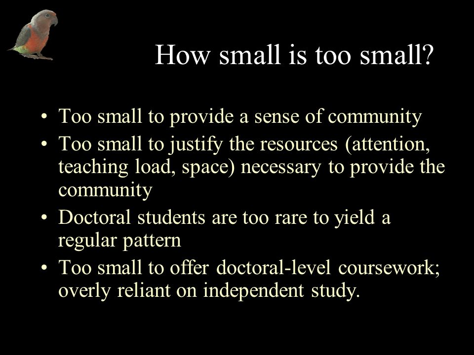 How small is too small.