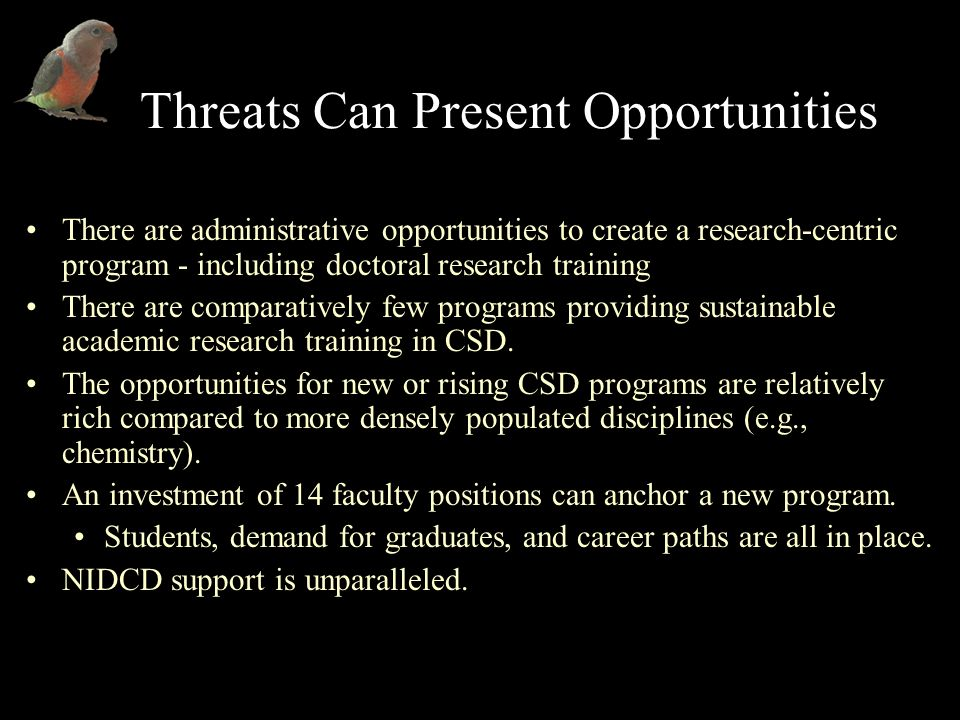 Threats Can Present Opportunities There are administrative opportunities to create a research-centric program - including doctoral research training There are comparatively few programs providing sustainable academic research training in CSD.