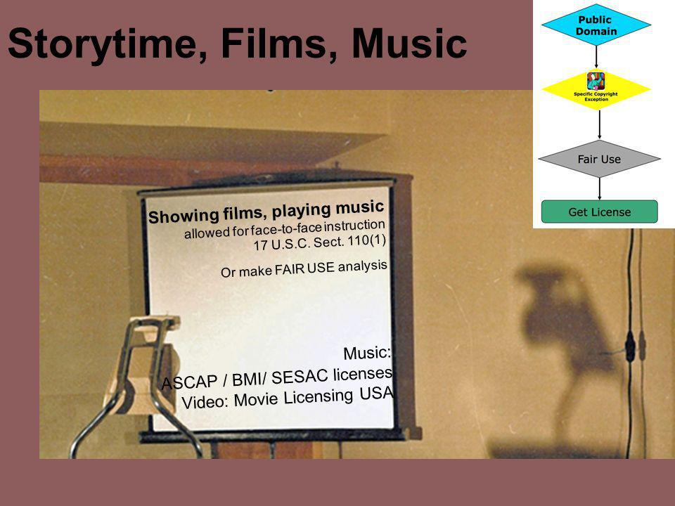Storytime, Films, Music Showing films, playing music allowed for face-to-face instruction 17 U.S.C. Sect. 110(1) Or make FAIR USE analysis Music: ASCA