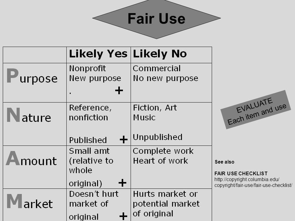 Fair Use EVALUATE Each item and use See also FAIR USE CHECKLIST   copyright/fair-use/fair-use-checklist/