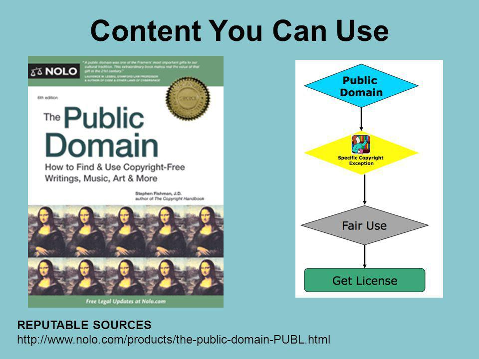 Content You Can Use REPUTABLE SOURCES http://www.nolo.com/products/the-public-domain-PUBL.html