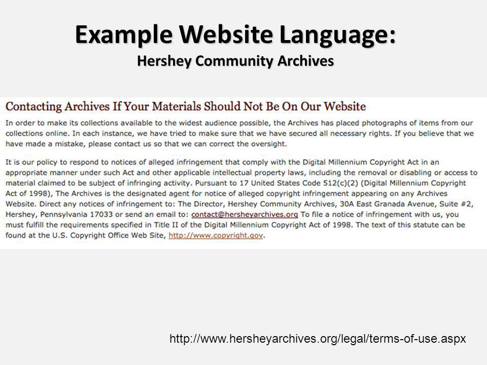 Example Website Language: Hershey Community Archives