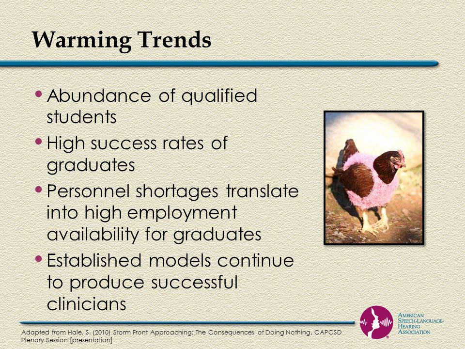 Warming Trends Abundance of qualified students High success rates of graduates Personnel shortages translate into high employment availability for graduates Established models continue to produce successful clinicians