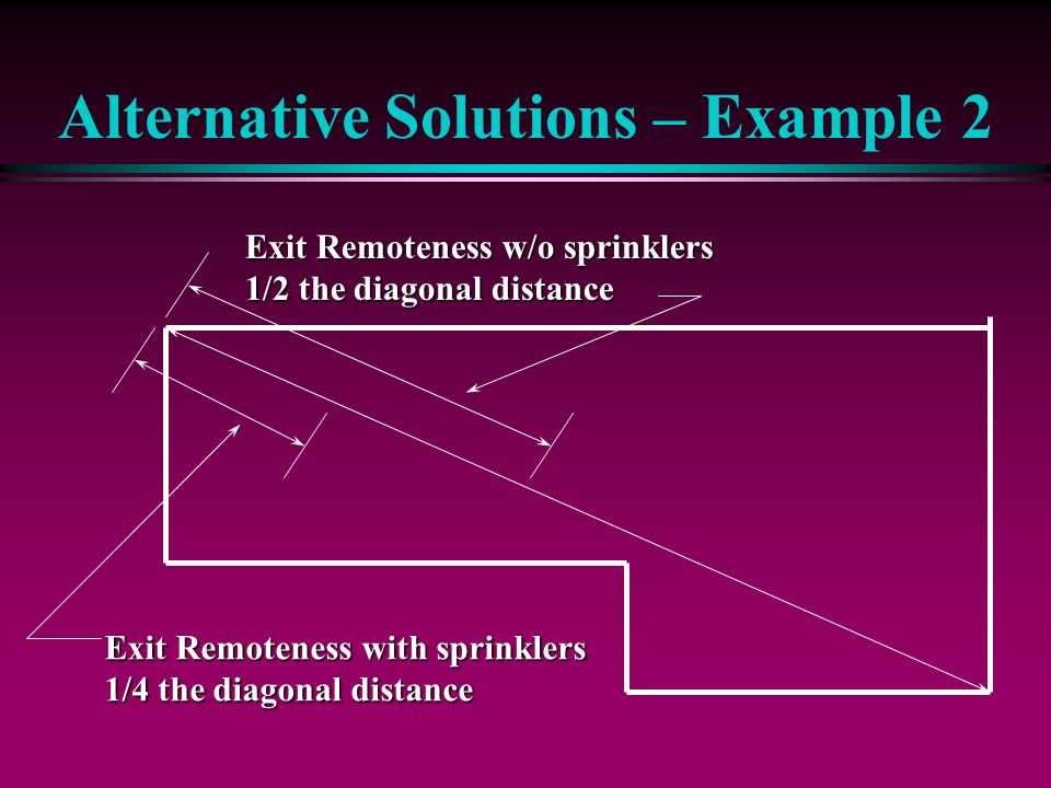 Alternative Solutions – Example 2 Exit Remoteness w/o sprinklers 1/2 the diagonal distance Exit Remoteness with sprinklers 1/4 the diagonal distance