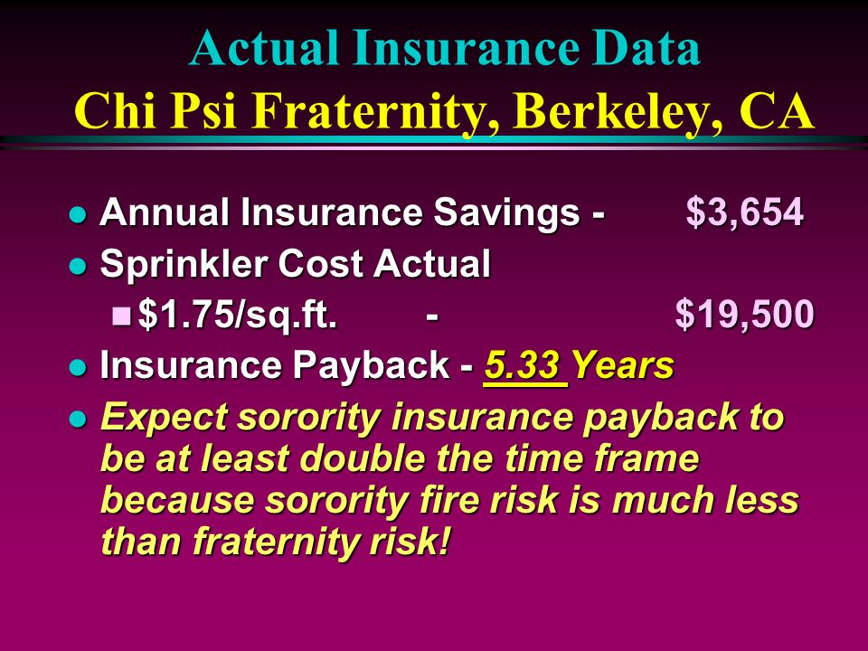 Actual Insurance Data Chi Psi Fraternity, Berkeley, CA l Annual Insurance Savings - $3,654 l Sprinkler Cost Actual n $1.75/sq.ft. - $19,500 l Insuranc