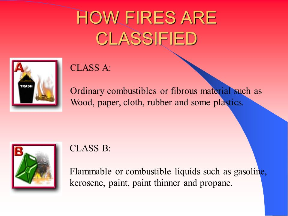 HOW FIRES ARE CLASSIFIED CLASS A: Ordinary combustibles or fibrous material such as Wood, paper, cloth, rubber and some plastics. CLASS B: Flammable o