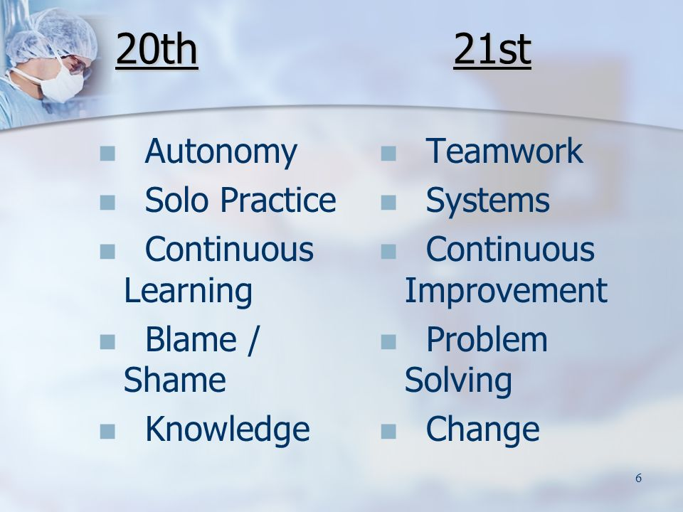 6 20th Autonomy Solo Practice Continuous Learning Blame / Shame Knowledge Teamwork Systems Continuous Improvement Problem Solving Change 21st