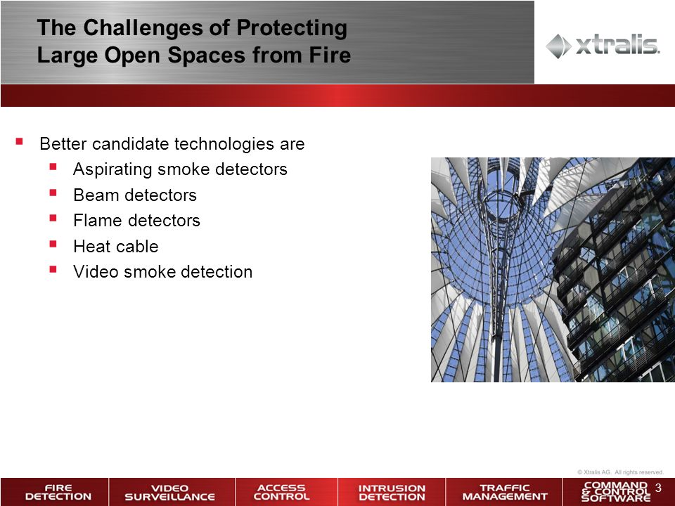 3 Better candidate technologies are Aspirating smoke detectors Beam detectors Flame detectors Heat cable Video smoke detection The Challenges of Protecting Large Open Spaces from Fire